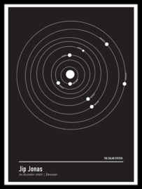 Zonnestelsel poster  - minimalistisch
