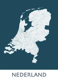 Poster plattegrond Nederland - 20 kleuren
