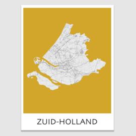 Poster plattegrond Zuid-Holland - 20 kleuren