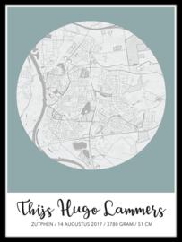 Baby geboortestad poster - in 20 kleuren