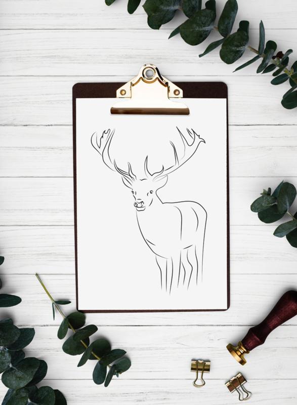 Minimalistische schets hert - DIY download
