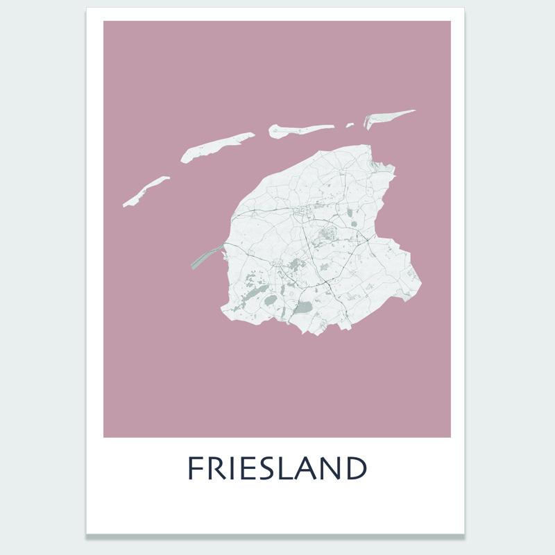 Poster plattegrond Friesland - 20 kleuren
