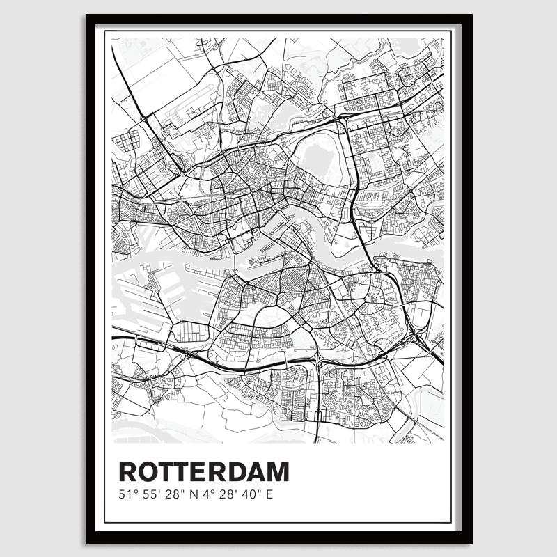 Rotterdam stadskaart - lijnen