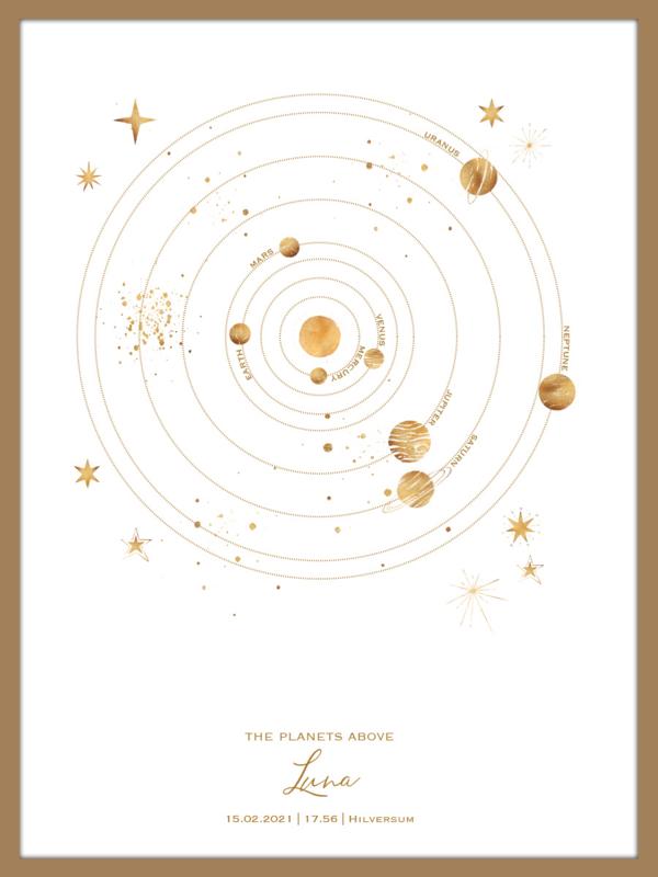 A4 formaat - Gold - Planeten geboorteposter