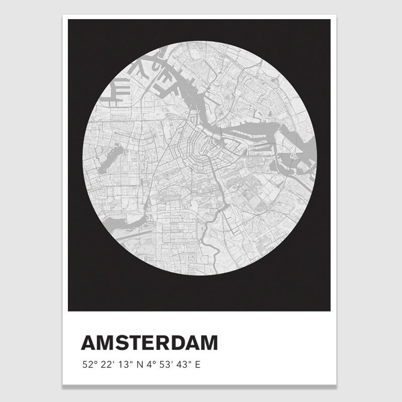 Amsterdam stadskaart - potloodschets - 20 kleuren