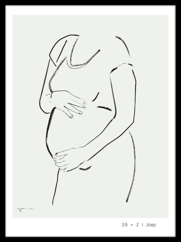 Jouw zwangere buik schets - handgetekend