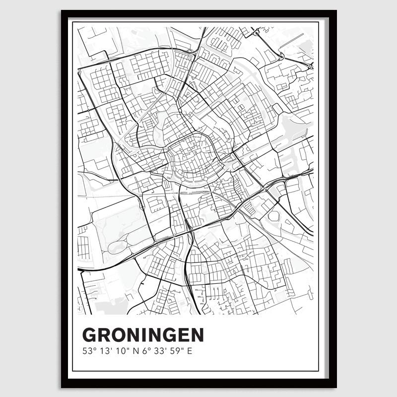 Groningen stadskaart - lijnen