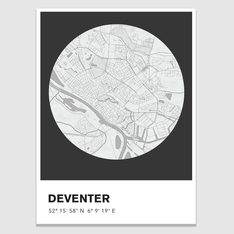 Deventer stadskaart - potloodschets - 20 kleuren