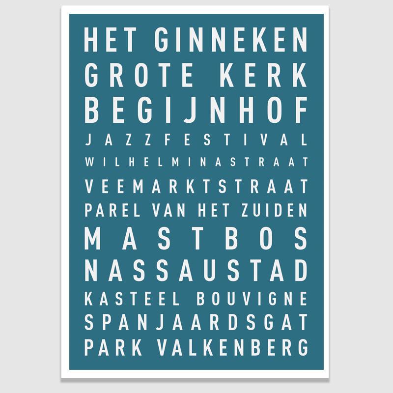 Tekstposter highlights Breda - 20 kleuren