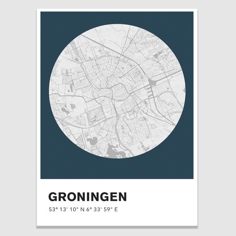 Groningen stadskaart - potloodschets - 20 kleuren
