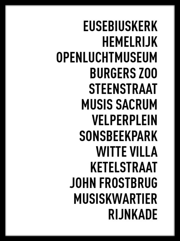Tekstposter STAD - eigen tekst - 20 kleuren