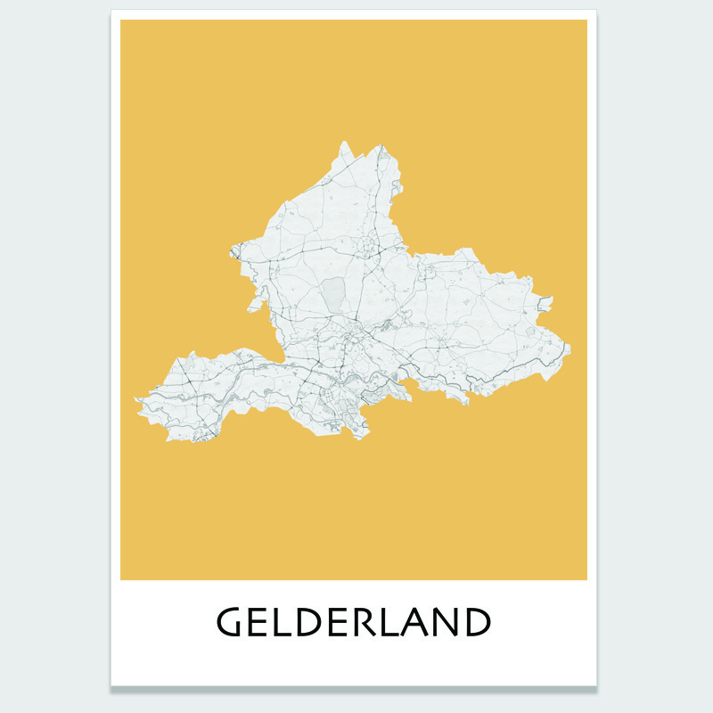 Poster plattegrond Gelderland - 20 kleuren