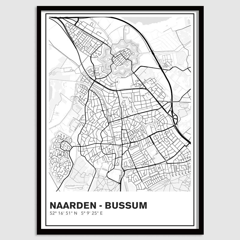 Naarden - Bussum stadskaart - lijnen