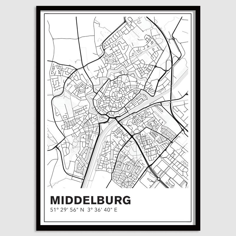 Middelburg stadskaart - lijnen