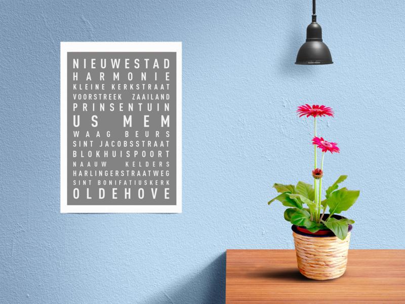 Tekstposter highlights Leeuwarden - 20 kleuren