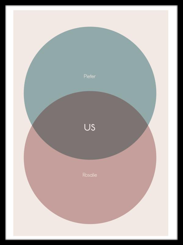 Trouwposter met Venn diagram - pastel