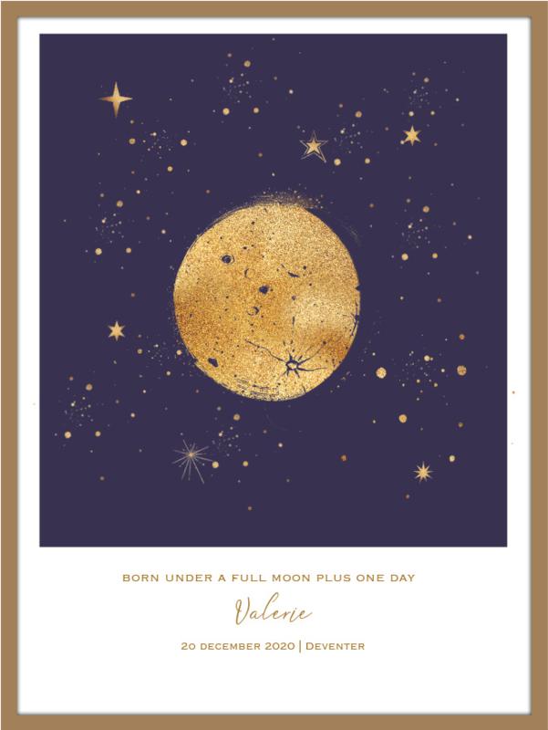 A4 formaat - Gold - maanstand geboorteposter