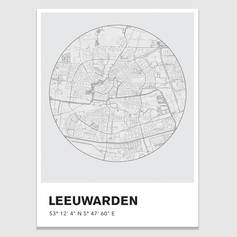 Leeuwarden stadskaart  - potloodschets - 20 kleuren