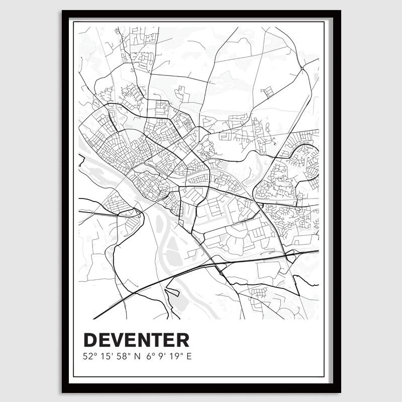 Deventer stadskaart - lijnen