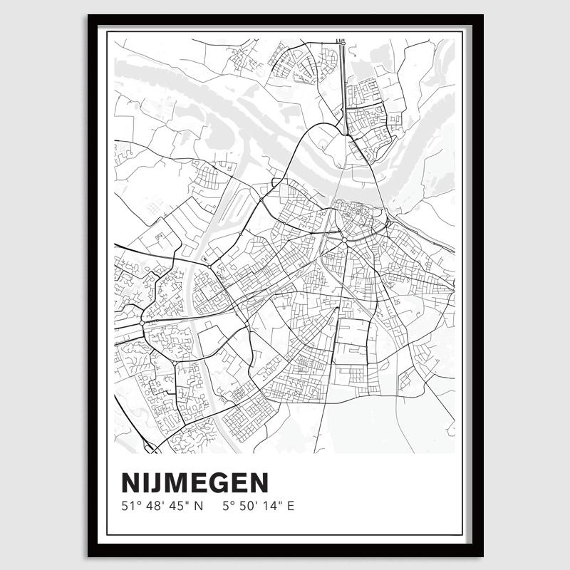 Nijmegen stadskaart - lijnen