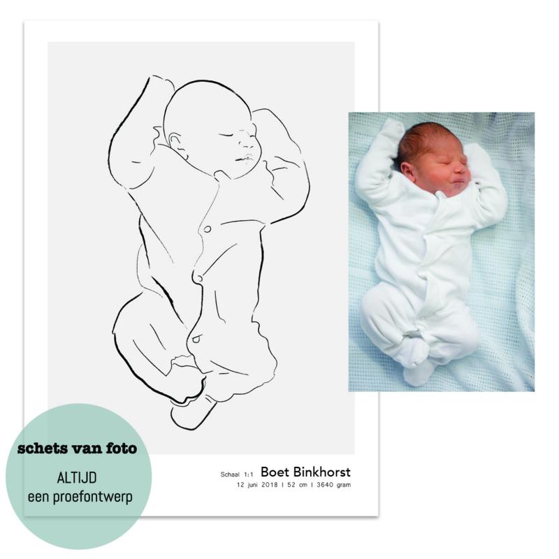 Poster met babyschets op schaal van eigen foto