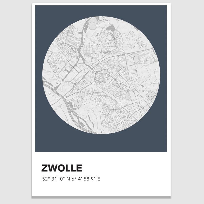 Zwolle  stadskaart  - potloodschets