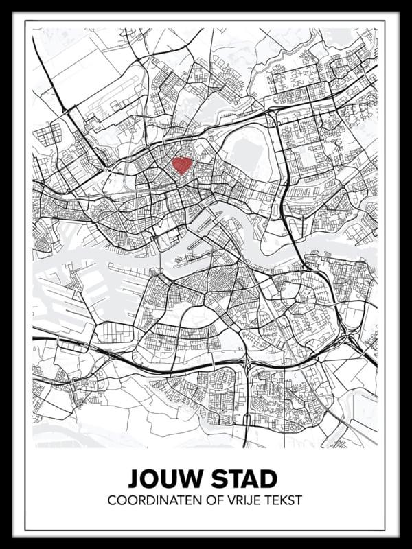 Stadskaart van jouw stad - lijnen - wit