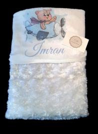 Super zachte baby deken met naam en afbeelding naar wens