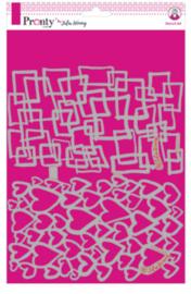 Pronty Stencil Julia Woning Hearts & squares (A4)
