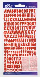 Sticko Alphabet Stickers rood (518 stuks)