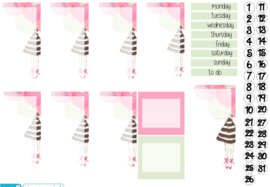 BALLOONGIRL Stickers voor Travelers Notebook insert 'Boxes'