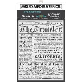 Stamperia Stencil 'The Traveler' 15cm x 20cm