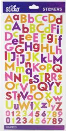 Sticko Alphabet Stickers Glitter regenboog (106 stuks)