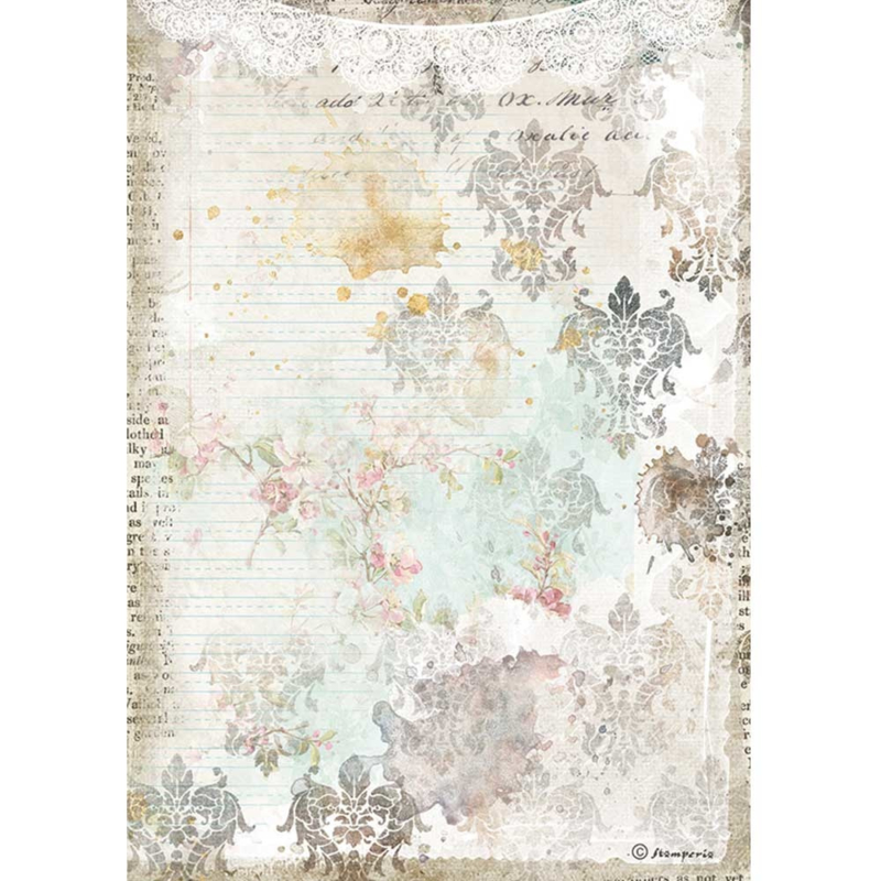 Stamperia - Romantic Journal Texture With Lace A4