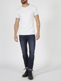 Petrol basic bodyfit  ronde hals t-shirt wit