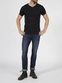 Petrol basic bodyfit v-hals t-shirt zwart