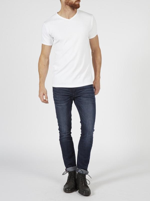 Petrol basic bodyfit v-hals t-shirt wit