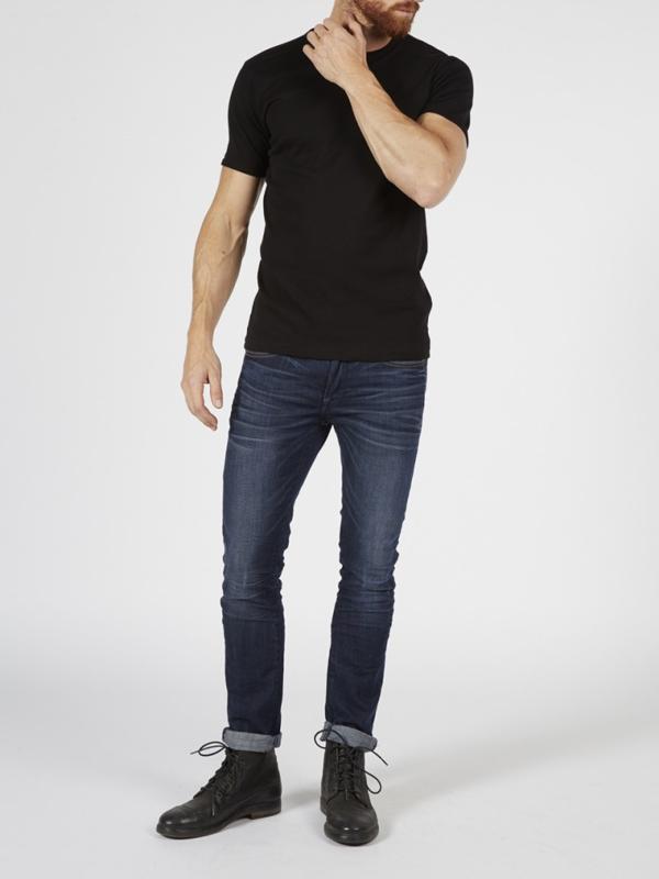 Petrol basic bodyfit ronde hals t-shirt zwart