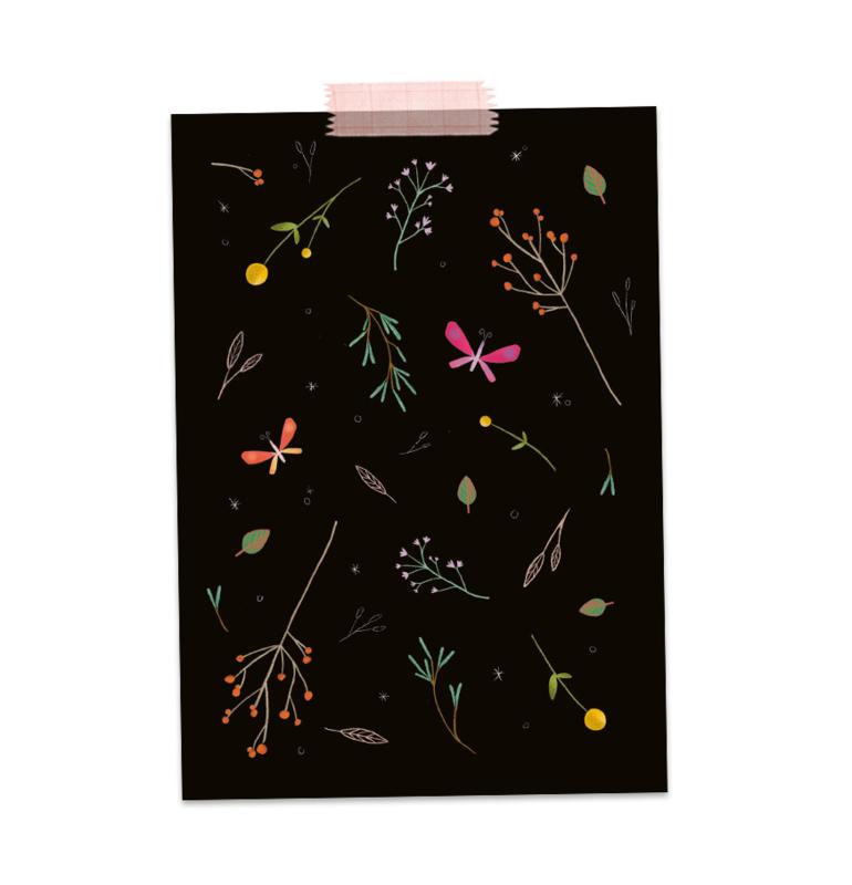 Bloemen en vlinders