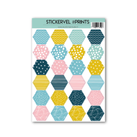Stickervel hexagon | prints