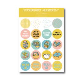 Stickervel pasen geel