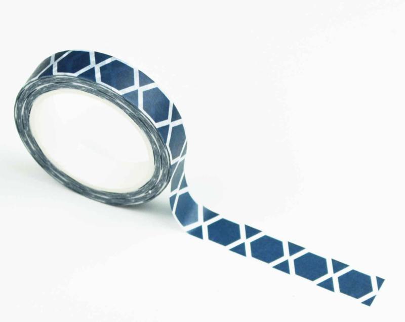 Washi tape: darkblue hexagons