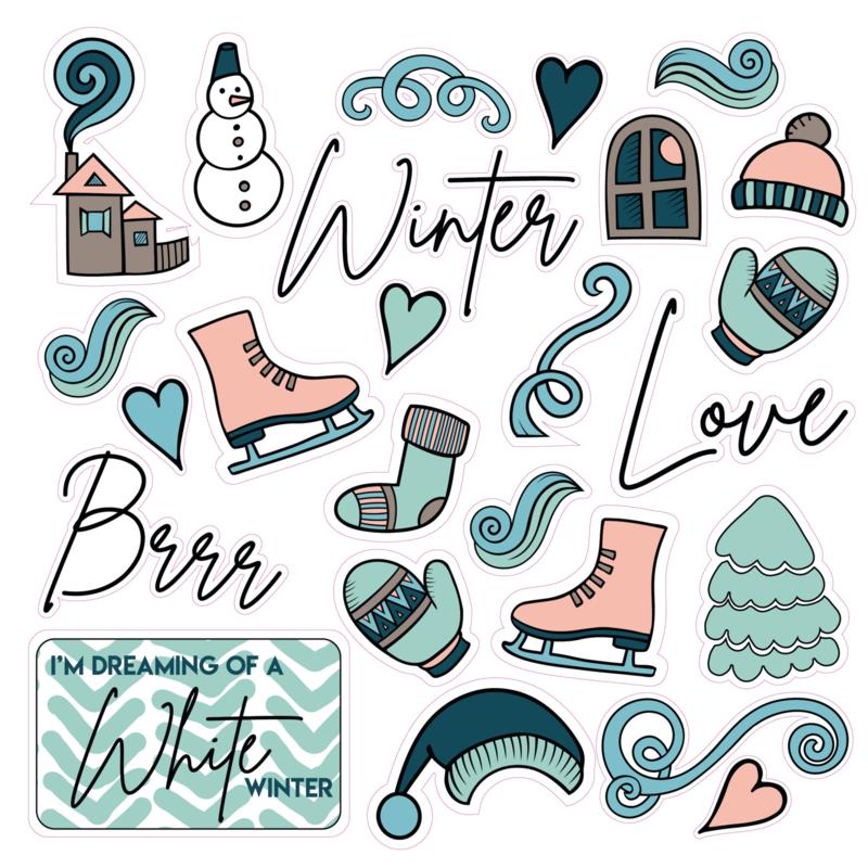 25 Contour stickers/die cuts: Winter 2021