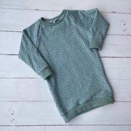 Sweaterdress zee groen zwarte confetti