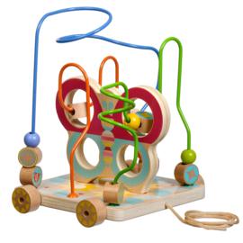Houten Kralenspel op wielen - Vlinder
