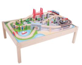 Houten Treinbaan Stad op Speeltafel