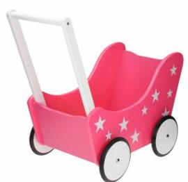 Houten Poppenwagen - Roze met sterretjes