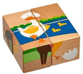 Houten Blokpuzzel Boerderijdieren