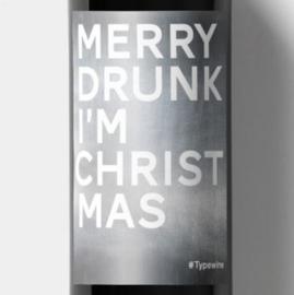 Sticker voor op fles - MERRY DRUNK, I'M CHRISTMAS