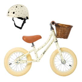 Balance Bike - First Go - Bonton (sterretjes) CREAM + HELM